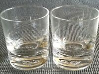 Crown Royal Whiskey Glasses Round Set Of Two Embossed On Bottom