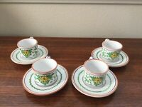 Made in Italy (Deruta?) Espresso Cup & Saucer set of 4