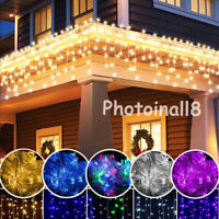 96~672 LED Snowing Icicle Curtain String Light Outdoor Fairy Xmas Decors Wedding