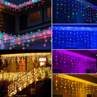 10ft-100ft 96-960 LED Snowing Hanging Icicle Curtain Lights Outdoor Indoor Decor