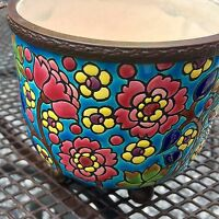 Antique Emaux de Longwy Enameled Bowl Iron Lace Handles Ball Feet French Pottery