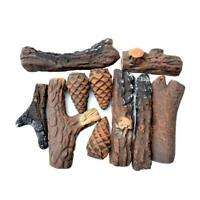 Ceramic Wood Fireplace Logs for Fireplaces & Fire Pits, 10 Piece Set- Small Size