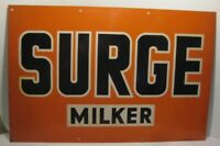 Old Antique Tin Farm Machinery Agriculture Sign - Surge Milker - Cow Husbandry
