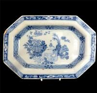 M013 ANTIQUE MID 18TH CENTURY ENGLISH DELFT OCTAGONAL PLATE