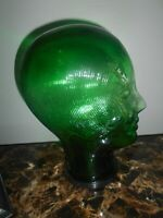 Vintage Green Glass Head FEMALE Mannequin OLD DISPLAY MANNEQUIN HEAD - W/CAP BTM