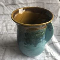Neher Hand Warming Pottery Mug Clay In Motion Ocean Right Hand Signed 2013 EUC