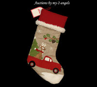 NWT Pottery Barn Kids TRUCK WITH REINDEER Woodland Stocking NO MONOGRAM NO NAME