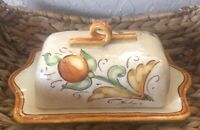 Vietri Pottery-Butter Dish Made In Italy Appox 10.5 Inches Long Handpainted