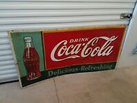 1937 Ultra Rare Vintage Coca Cola Tin Sign 72