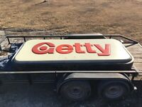 Vintage GETTY Lighted 2 Sided Sign Old Skelly Oil Gas Station Interstate Sign