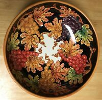 "Italian Grapes Leaves Italy Hand Painted Large 13"" Pottery Bowl CERAMICHE Amalfi"