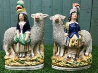 SUPERB PAIR: MID 19thC STAFFORDSHIRE LARGE SHEEP WITH SCOTTISH FIGURES c1860s