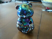 Fenton Sitting Bear  Black Amethyst Carnival~MINT