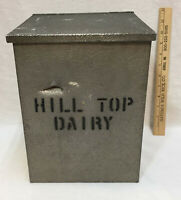 Home Milk Box Hill Top Dairy Aluminum amp; Wood Container for Jugs Cream Vintage