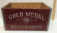 Gold Medal Beverage Wood Crate Vintage Carrier Twin Cities Wooden Box MN Minn