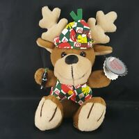 Coca Cola Collectable Bean Bag Plush Reindeer in Coca Cola Vest And Beanie Tags