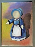 Doll abstract original paiting signed on canvas wrapped mdf board free ship $23.00
