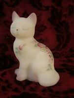 Fenton Cat White With Hand Painted Flowers Kitten Figurine Sitting Cat