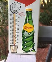 MINTY Vintage Antique Squirt Soda Cola Tin Non Porcelain Bottle Thermometer Sign