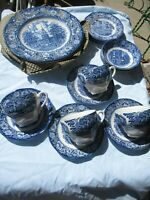 VINTAGE LIBERTY BLUE 20 PIECE DINNER SET MADE IN ENGLAND PLATES-BOWLS-C