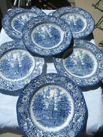 6 VINTAGE LIBERTY BLUE MADE IN ENGLAND PLATES-10