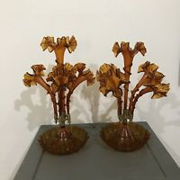 Pair / Set Of Antique Victorian Era Art Glass Amber Epergne Vase 4 Horns, [CB15]
