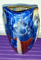 Gorgeous BILL CAMPBELL Glazed Pottery Crystalline Vase Blue Orb 7