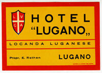 ANCIENNE ÉTIQUETTE VALISE HOTEL LUGANO OLD LUGGAGE LABEL