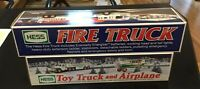 HESS FIRE TRUCK 2000 TOY TRUCK AND AIRPLANE 2002 NEW IN BOX