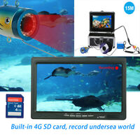 7'' Video-Monitor Fish-Finder Color Underwater Camera 15M IP68 +4G SD Card J7D2