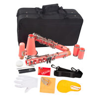 Exquisite Beginner Student Clarinet Kit & B Flat PVC with Carry Case Pink