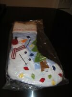 NWT Pottery Barn Kids Christmas Stocking Quilted Blue Snowman NEW