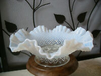 Fenton White French Opalescent Diamond Lace Epergne Base Only