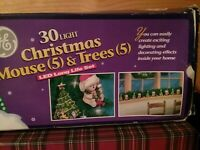 GE Christmas Mouse &  Trees  Novelty Tree Lights 30 Light LED Bulb Strand New
