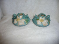 ROSEVILLE CLEMATIS CANDLE HOLDERS 1158-2 EXCELLENT!!! NR