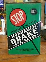 Vintage Whiz Hydraulic Brake Fluid Metal Can, 1 Gallon, Stop Sign Graphic, Rare