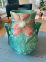 Roseville Clematis Vase Blue-Green And Pink #103 6 Double Handles Antique