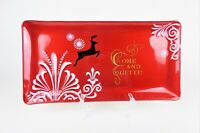 Red Glass Christmas Platter Tray Rectangle Come and Get It Reindeer Snow Flakes