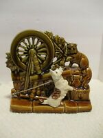 Vintage McCoy Spinning Wheel Scottie Dog & Cat Pottery Planter-USA