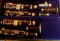 Selmer and Buffet clarinets. Silver keys, gold keys.Pomarico crystal mouthpiece