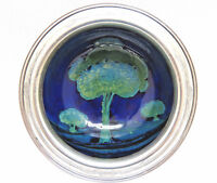 Signed William Moorcroft Pottery England Moonlit Blue Bowl w Sterling Silver Rim