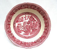 1930's Staffordshire England Pink Red WILLOW Transferware Vegetable Bowl  8 7/8