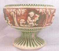 Roseville Donatello Compote Art Pottery Pedestal Green Brown Cream 5in. Vintage