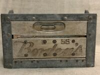 Vintage Borden's Dairy Products Wooden Milk Crate Box Metal Reinforced Case 1955