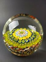 Millefiori Crystal Art Glass Round Paperweight Green Blue Yellow White Floral