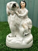 SUPERB MID 19thC STAFFORDSHIRE SEATED BOY FIGURE ON SPANIEL DOG c1850s