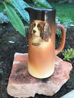 "Antique 12"" Weller Dickens Ware Ewer With Cocker Spaniel Pitcher - Rare!"
