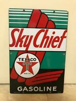 Vintage TEXACO SKY CHIEF porcelain sign VG condition dated 3/12/1945
