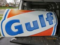 GULF GAS STATION SIGN OIL CAN GAS PUMP NOT PORCELAIN NICE BACK LIGHT hit miss
