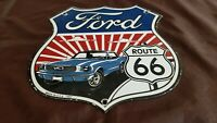 VINTAGE FORD MUSTANG PORCELAIN GAS US ROUTE 66 SERVICE HIGHWAY ROAD SHIELD SIGN